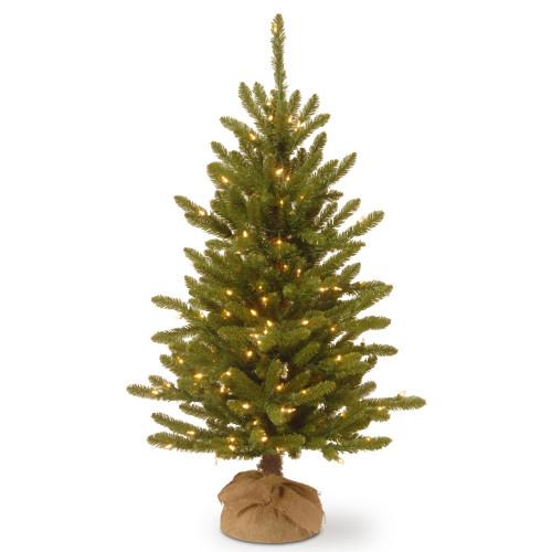 4' Pre-lit Kensington Burlap Artificial Christmas Tree –Clear Lights - IMAGE 1