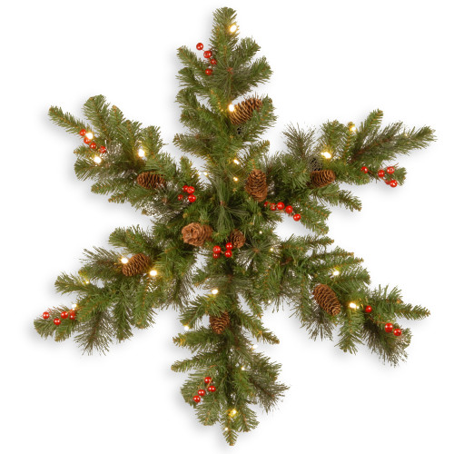 """32"""" Pre-Lit Spruce Snowflake Berries and Pine Cones Artificial Christmas Wreath - LED Lights - IMAGE 1"""