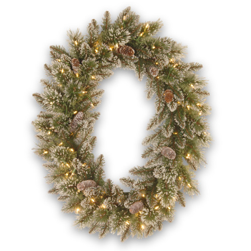"30"" Pre-Lit Glittery Pine Christmas Wreath - LED Lights - IMAGE 1"
