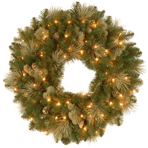 "30"" Carolina Pine Wreath with Battery Operated LED Lights - IMAGE 1"