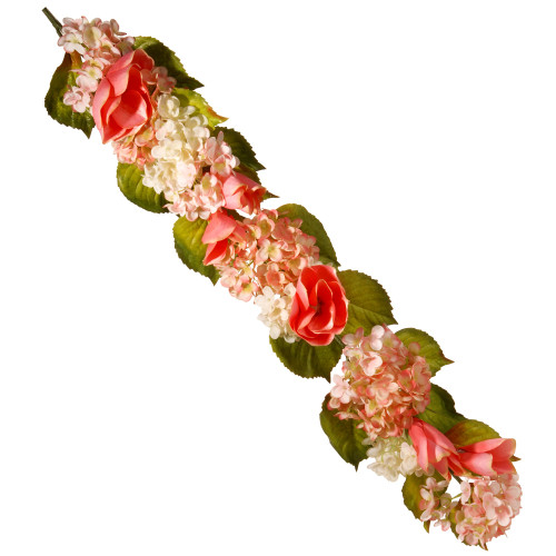 """48"""" Rose and Hydrangea Artificial Garland - IMAGE 1"""