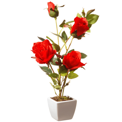 "15"" White Square Potted Artificial Red Rose Flowers - IMAGE 1"