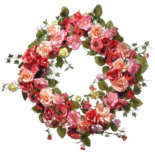 Mixed Rose Artificial Floral Wreath, Red 32-Inch - IMAGE 1