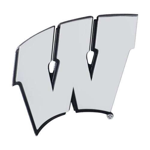 "Set of 2 White NCAA University of Wisconsin Badgers Emblem Automotive Stick-On Car Decals 3"" x 3"" - IMAGE 1"