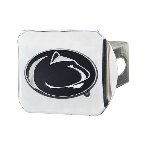"""4"""" x 3.25"""" Silver and Black NCAA Penn State Nittany Lions Hitch Cover Automotive Accessory - IMAGE 1"""