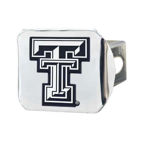 """4"""" x 3.25"""" Silver and Black NCAA Texas Tech University Red Raiders Hitch Cover Automotive Accessory - IMAGE 1"""