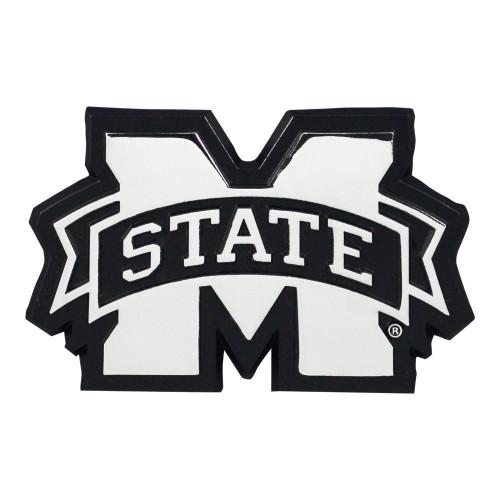 "Set of 2 Black NCAA Mississippi State University Bulldogs Chrome Emblem Stick-On Car Decal 3"" x 3.2"" - IMAGE 1"