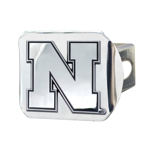 "4"" x 3.25"" Silver and Black NCAA University of Nebraska Blackshirts Hitch Cover Automotive Accessory - IMAGE 1"
