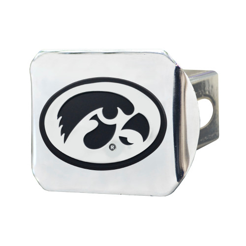 """4"""" x 3.25"""" Silver and Black NCAA University of Iowa Hawkeyes Hitch Cover Automotive Accessory - IMAGE 1"""
