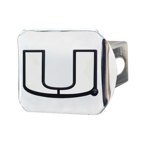 """4"""" x 3.25"""" Silver and Black NCAA University of Miami Hurricanes Hitch Cover Automotive Accessory - IMAGE 1"""