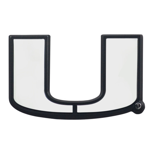 "Set of 2 White NCAA University of Miami Hurricanes Emblem Automotive Stick-On Car Decals 1.5"" x 3"" - IMAGE 1"
