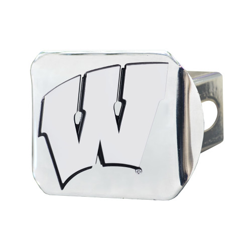 """4"""" x 3.25"""" Silver and Black NCAA University of Wisconsin Badgers Hitch Cover Automotive Accessory - IMAGE 1"""