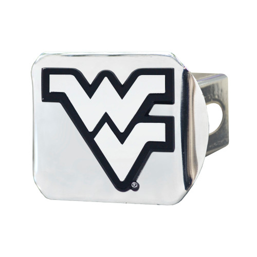 """4"""" x 3.25"""" Silver and Black NCAA West Virginia University Hitch Cover Automotive Accessory - IMAGE 1"""