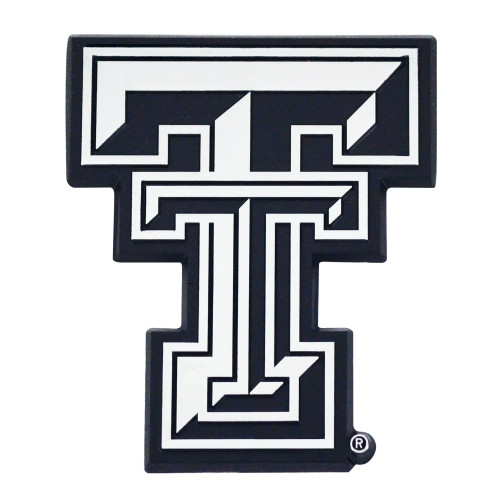 """Set of 2 White NCAA Texas Tech University Red Raiders Automotive Stick-On Car Decals 2.5"""" x 3"""" - IMAGE 1"""