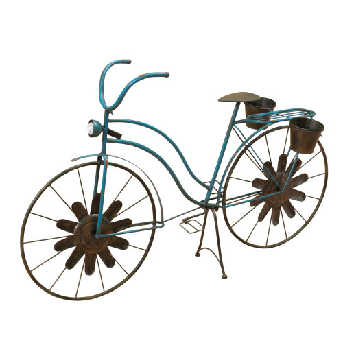 """52.95"""" Blue and Brown Rustic Finish Solar Powered Bicycle Planters - IMAGE 1"""