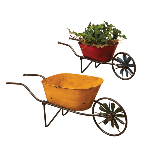 """Set of 2 Red and Yellow Antique Wheelbarrow Planters 22.75"""" - IMAGE 1"""