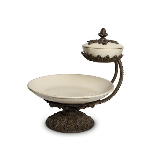"""16"""" Cream and Bronze Chip Dip Server with Acanthus Leaf Metal Base - IMAGE 1"""