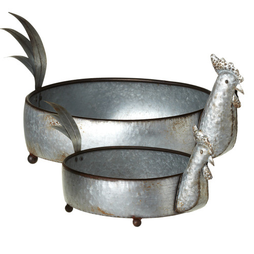 """Set of 2 Gray Distressed Finish Galvanized Rooster Planters 24"""" - IMAGE 1"""