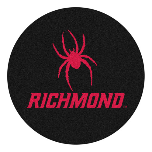 """27"""" Black and Red NCAA University of Richmond Spiders Puck Round Door Mat - IMAGE 1"""