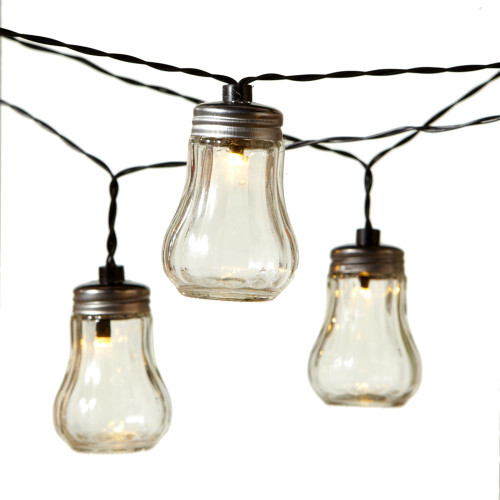 14-Count Warm White Swirl Glass Vintage Outdoor Patio Light Set, Black Wire - IMAGE 1