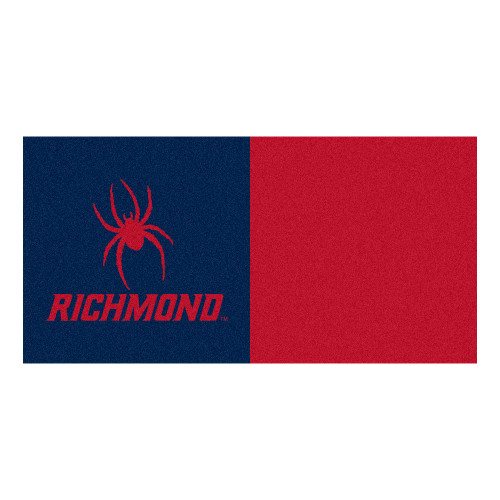 "20pc Blue and Red NCAA University of Richmond Spiders Carpet Tile Set 18"" x 18"" - IMAGE 1"