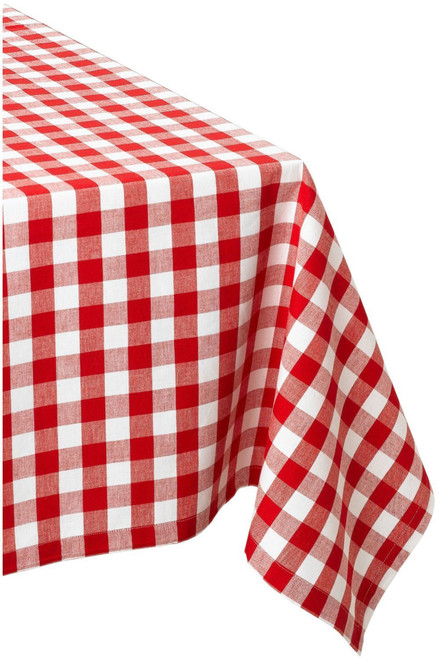 """120"""" Red and White Classic Gingham Rectangular Table Cloth - IMAGE 1"""