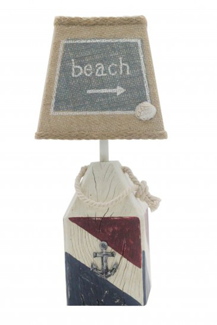 "14"" Subtle Colored Distressed Finished ""Lake"" Buoy Accent Lamp - IMAGE 1"