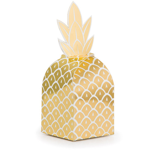 """Club Pack of 48 Glittering Gold and Foil Stamped Pineapple Decorative Favor Boxes 10.5"""" - IMAGE 1"""