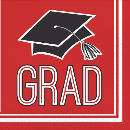 """Club Pack of 360 Red and Black 2-Ply """"Grad"""" Disposable Party Napkins 5"""" - IMAGE 1"""