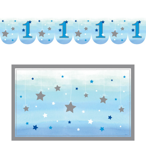 """Pack of 6 Blue and White Birthday Boy 6-Piece High Chair Decorating Kit 3.75"""" - IMAGE 1"""