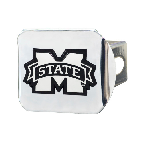 """3.25"""" x 4"""" White NCAA Mississippi State University Bulldogs Hitch Cover Automotive Accessory - IMAGE 1"""