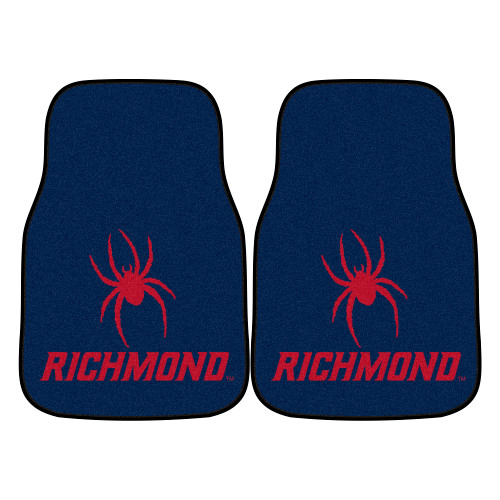 """Set of 2 Blue and Red NCAA University of Richmond Spiders Car Mats 17"""" x 27"""" - IMAGE 1"""