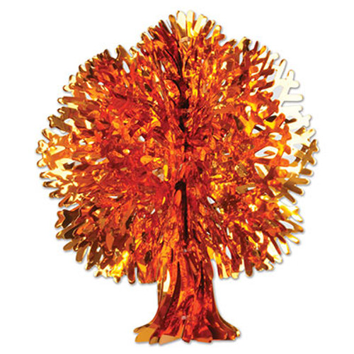 """Club Pack of 12 Yellow and Orange Metallic Thanksgiving Fall Tree Wall Hanging Decorations 18"""" - IMAGE 1"""