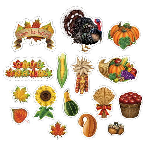 Pack of 192 Orange and Green with Printed 2 Sides Thanksgiving Cutouts - IMAGE 1