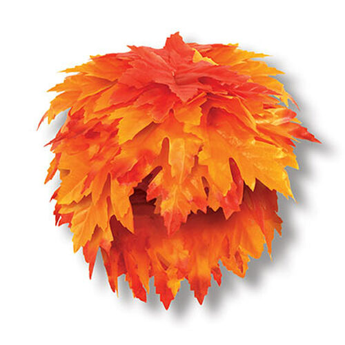 Club Pack of 12 Orange and Yellow Fall Leaf Thanksgiving Party Wigs - IMAGE 1
