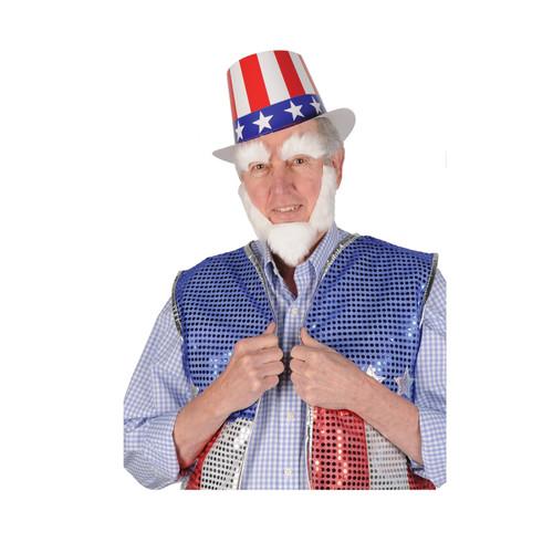 "Club Pack of 12 White Uncle Sam Patriotic Costume Accessories 10.25"" - IMAGE 1"