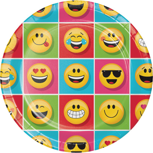 """Club Pack of 96 Multicolor """"Show Your Emojis"""" Dinner Plates 8.8"""" - IMAGE 1"""