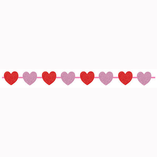 """Club Pack of 12 Red and Pink Valentine Ribbon with Glitter 7"""" - IMAGE 1"""