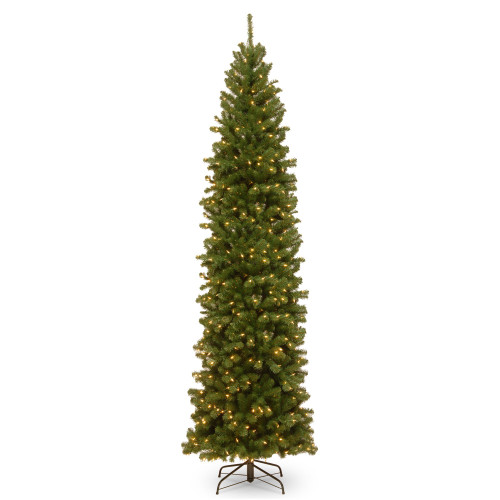 10' Pre-lit North Valley Spruce Pencil Artificial Christmas Tree – Clear Lights - IMAGE 1