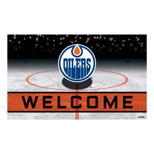 "18"" x 30"" Blue and White NHL Edmonton Oilers Heavy Duty Outdoor Door Mat - IMAGE 1"