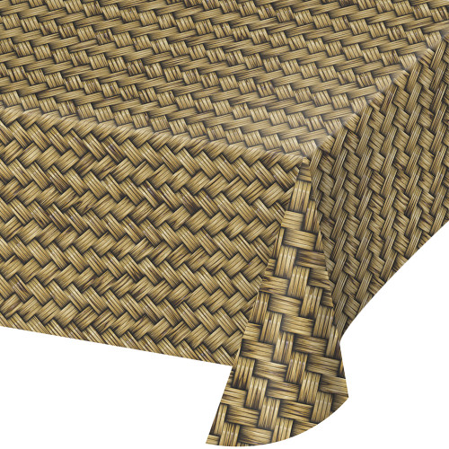 """Club Pack of 6 Brown and Black Basket Weave Print Decorative Dining Table Cover 108"""" - IMAGE 1"""