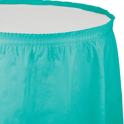 Pack of 6 Teal Lagoon Disposable Plastic Picnic Party Table Skirts 14' - IMAGE 1