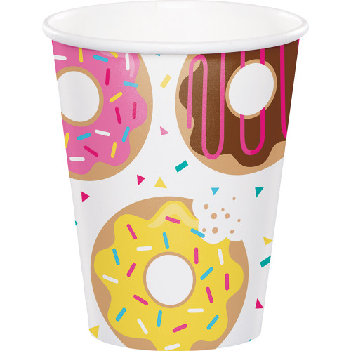 """Club Pack of 96 Pink and White Disposable Donut Time Hot/cold Cups 5.6"""" - IMAGE 1"""