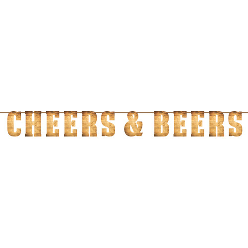 """Club Pack of 6 Brown Cheers and Beers Themed Letter Banners 8.75"""" - IMAGE 1"""