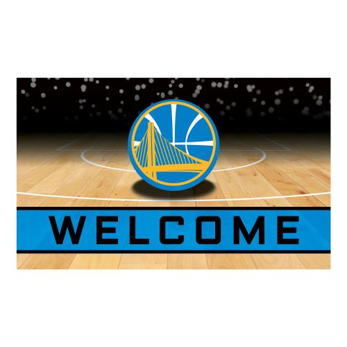 """Blue NBA Golden State Warriors """"Welcome"""" Rectangular Outdoor Door Mat 18"""" x 30"""" - IMAGE 1"""