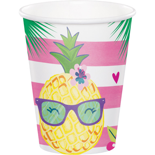 """Club Pack of 96 Pink and Yellow Disposable Pineapple N Friends Hot/cold Cups 5.6"""" - IMAGE 1"""
