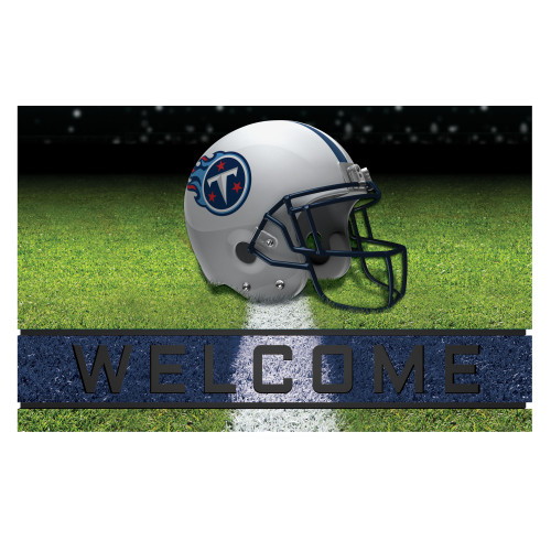 """18"""" x 30"""" Green and White Contemporary NFL Titans Outdoor Door Mat - IMAGE 1"""