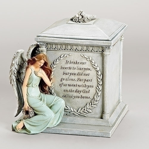 "8.5"" Religious Memorial Forever With The Angels Script Bereavement Urn - IMAGE 1"