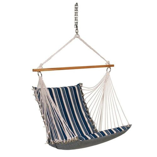 """26"""" x 48"""" Blue Tropical Palm Striped Cushion Hanging Chair with S-Hook - IMAGE 1"""