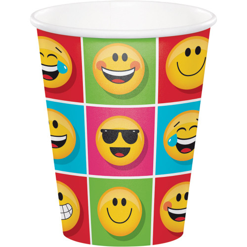 """Club Pack of 96 Yellow and Red """"Show Your Emojis"""" Hot Cold Cups 5.6"""" - IMAGE 1"""